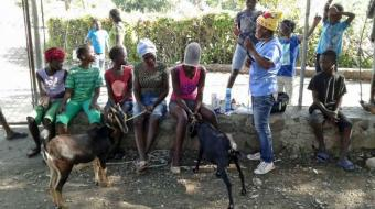 Veterinary technician Songé Sengela, in the yellow hat, asks goat clinic participants about their successes and struggles with their goats. (Geri Lanham)