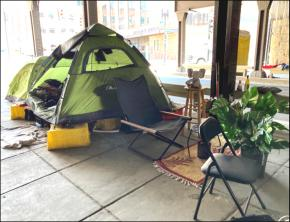 Photo from a tent encampment.